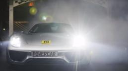 Porsche 918 Spyder on a kart track